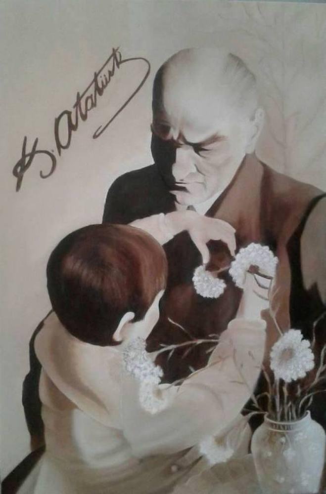 Ataturk and Ideal, Original Paintings, , kanvas tablo, canvas print sales