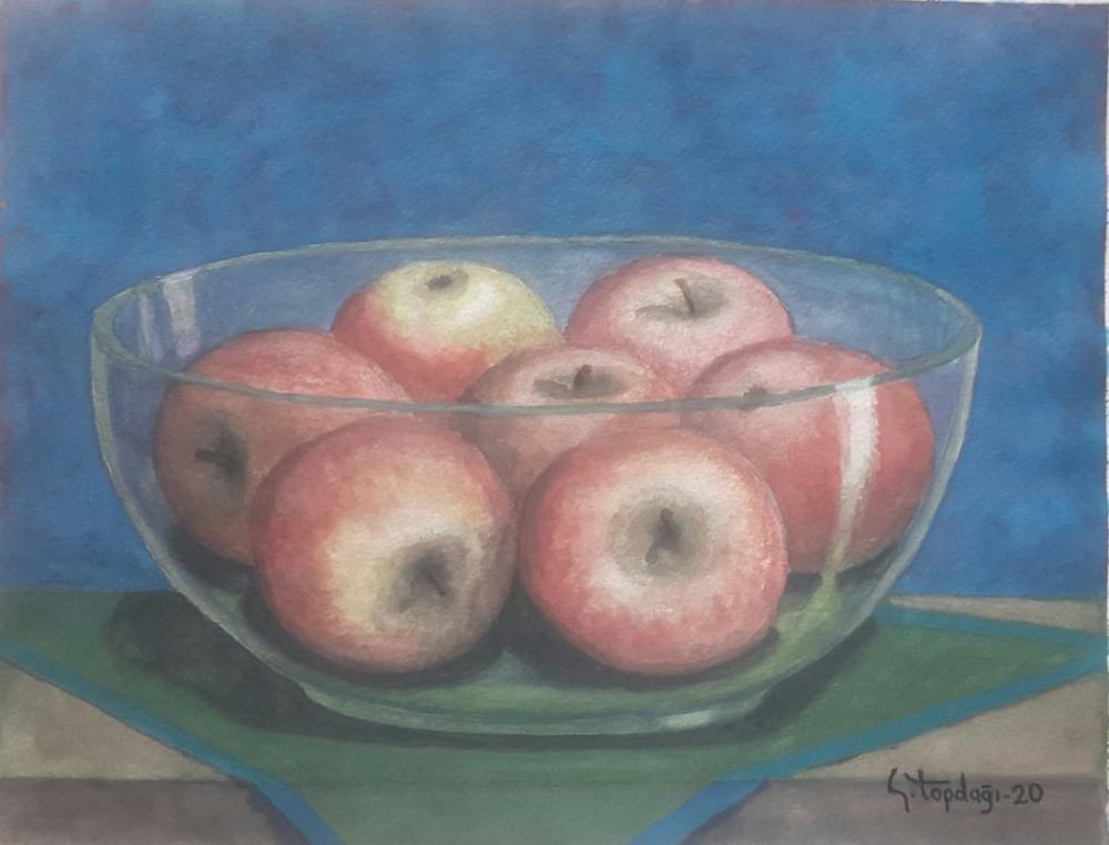 Apples in Glass Bowl, Original Paintings, , kanvas tablo, canvas print sales
