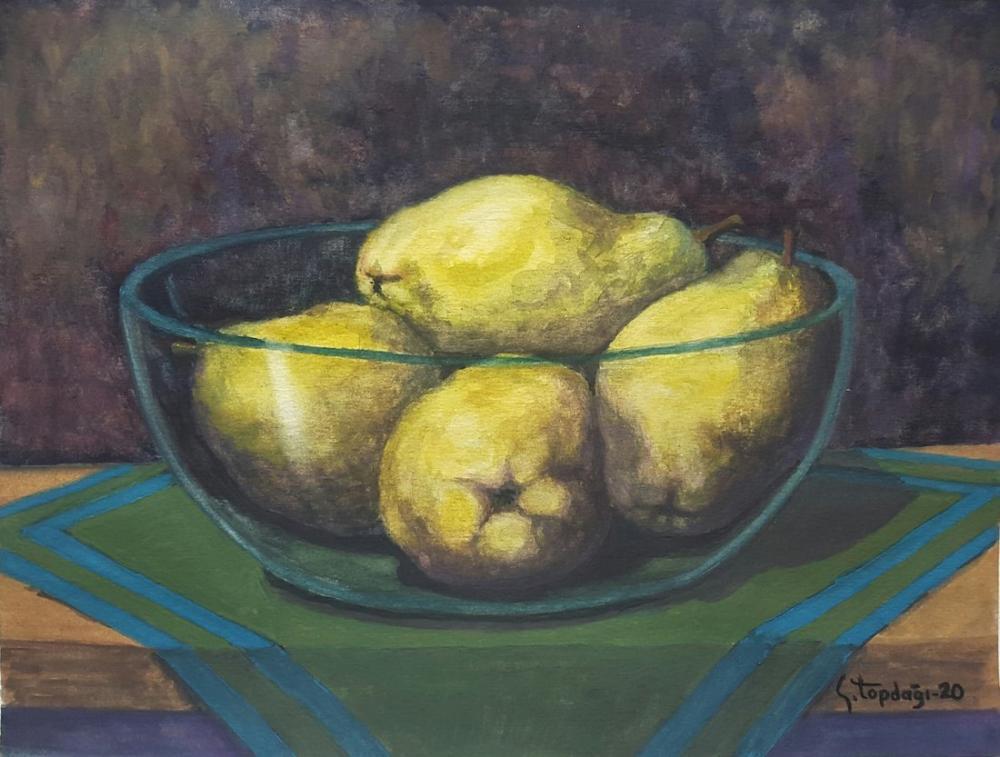 Quince in Glass Bowl, Original Paintings, , kanvas tablo, canvas print sales