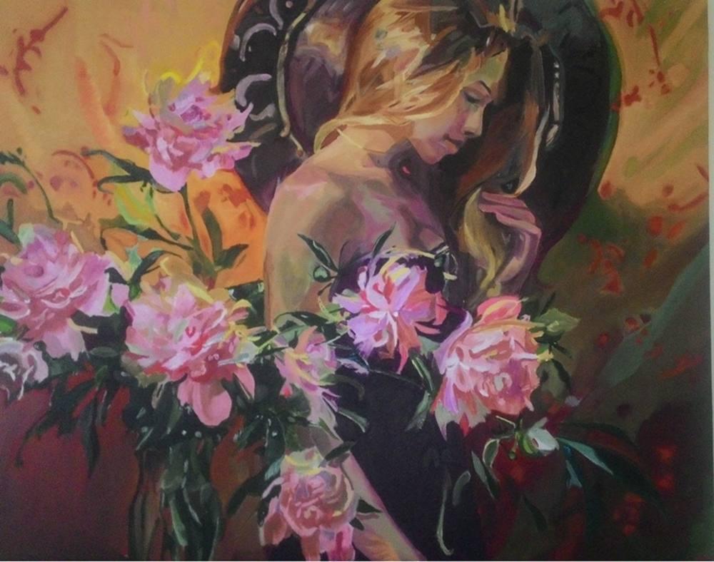 Woman thinking amongst flowers, Original Paintings, , SAYTEKİN01