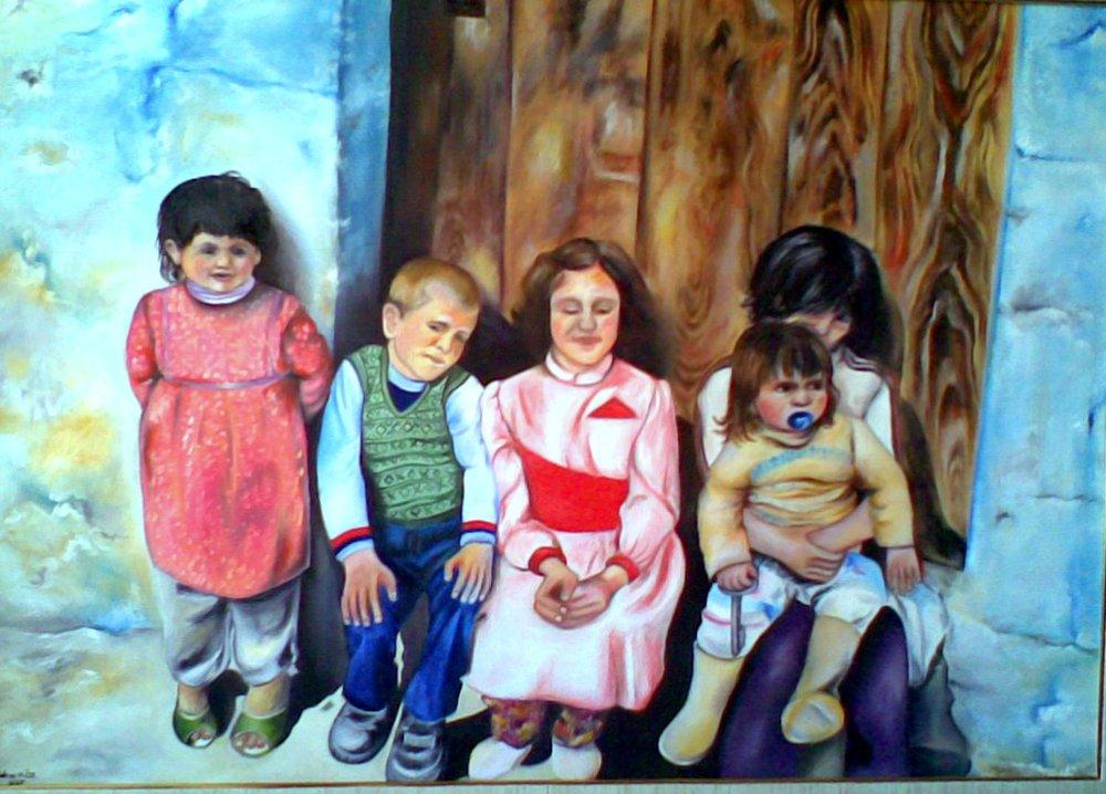 Children in Front of the Door, Original Paintings, , kanvas tablo, canvas print sales