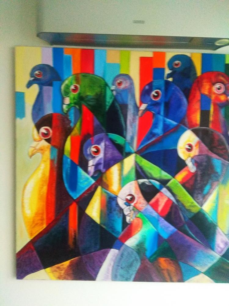 Renkli kuşlar, Reprodüksiyon Tablo, , kanvas tablo, canvas print sales