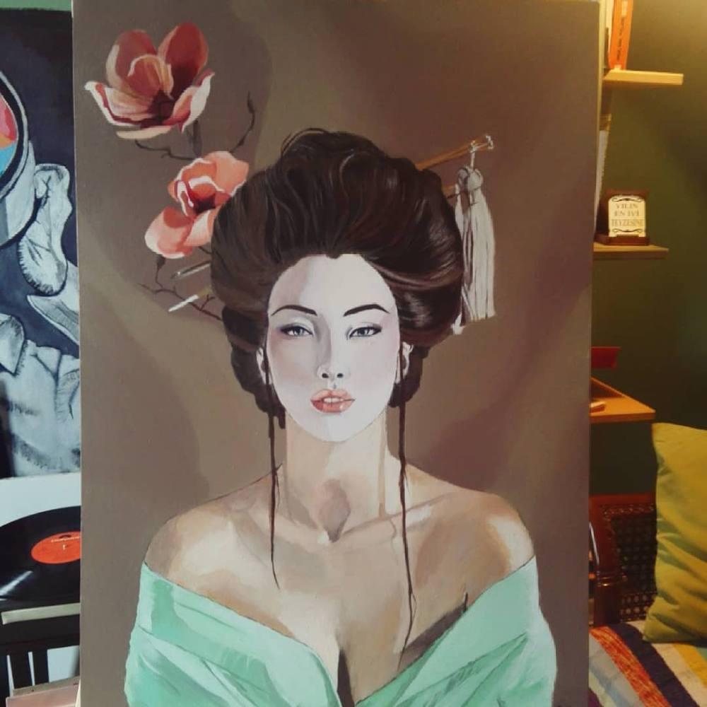Geisha, Original Paintings,  tablo kanvas canvas paintings