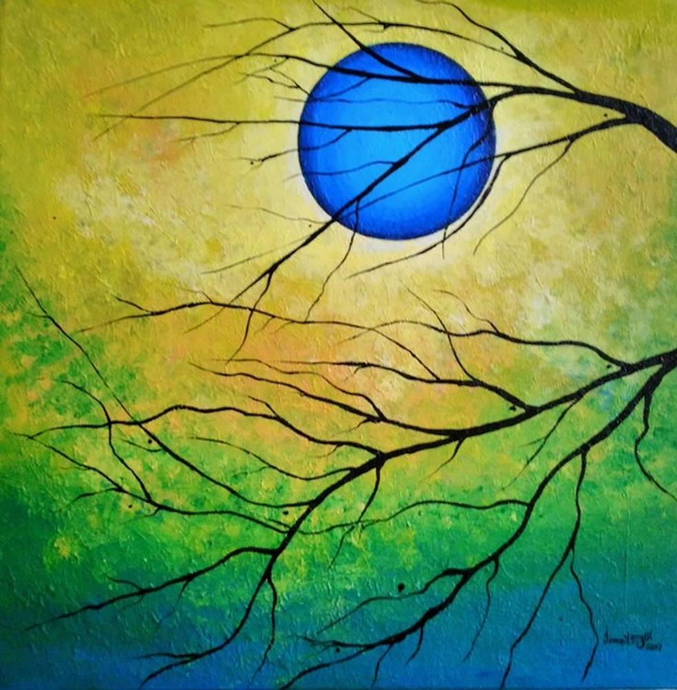 Mavi Ay 1, Original Paintings, İsmail Ergül, kanvas tablo, canvas print sales