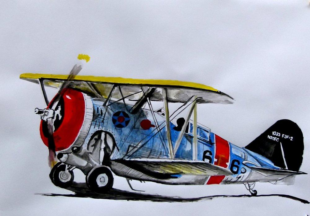 Mavi Uçak, Orijinal Tablolar, Soso Kumsiashvili, kanvas tablo, canvas print sales