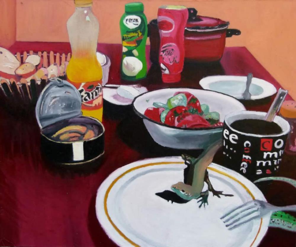 Kertenkele - Yağlıboya tablo, Orijinal Tablolar, Soso Kumsiashvili, kanvas tablo, canvas print sales