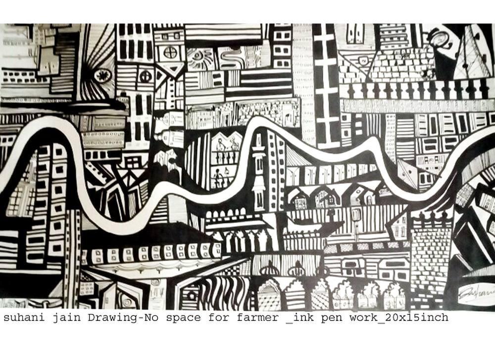 No Space  for Farmer, Original Paintings, Suhani Jain, kanvas tablo, canvas print sales