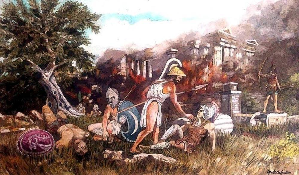 Death of Achilleus, Original Paintings,