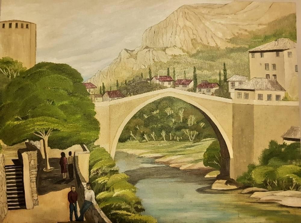 Mostar Bridge, Original Paintings,  tablo kanvas canvas paintings