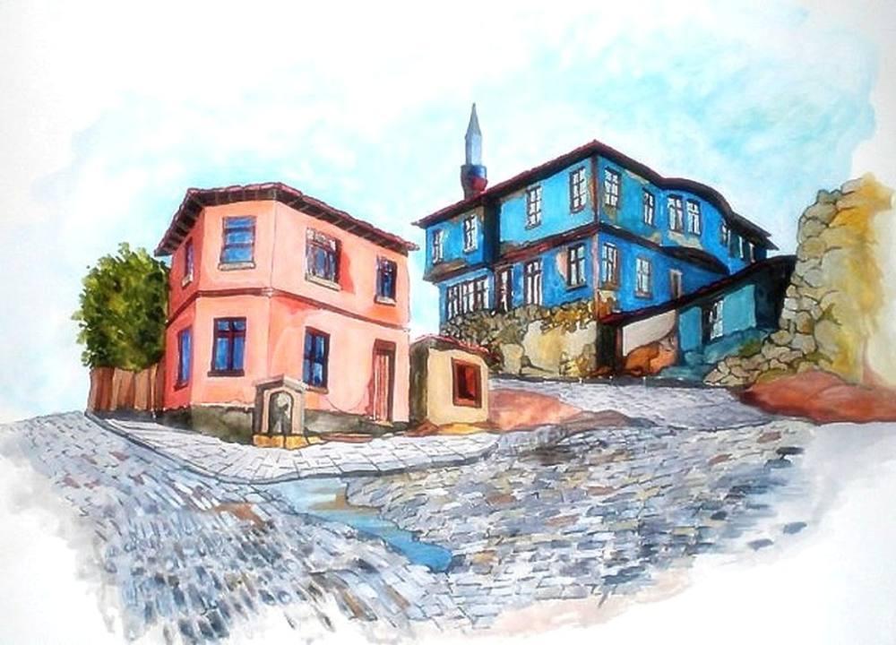 Old Odunpazarı houses / Eskişehir, Original Paintings, , kanvas tablo, canvas print sales