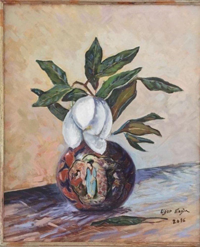 Magnolia in Chinese Vase, Original Paintings, , kanvas tablo, canvas print sales