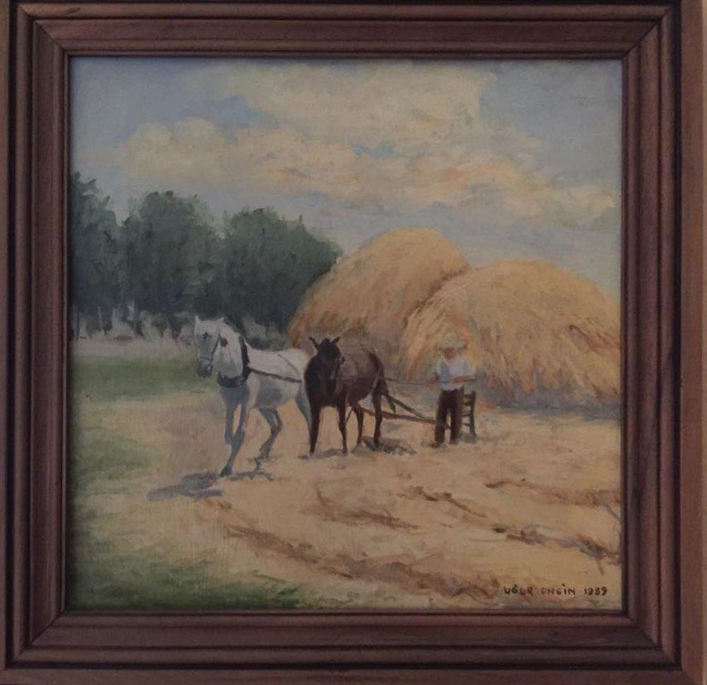 A Threshing View in Kastamonu, Original Paintings, , kanvas tablo, canvas print sales