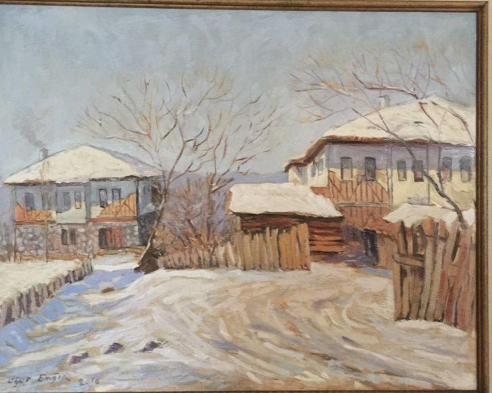 Köy İçi Kış Manzarası, Orijinal Tablolar, , kanvas tablo, canvas print sales