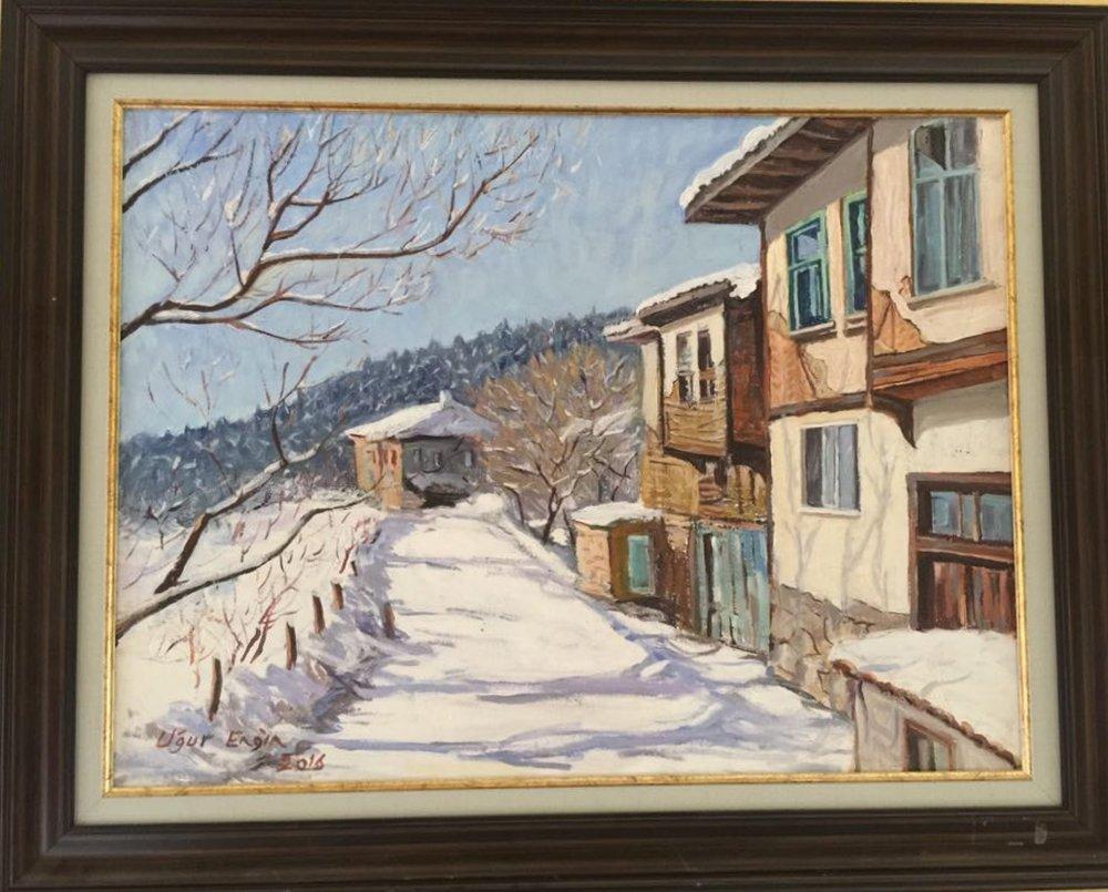 Kastamonu da Bir Köyde, Kış Manzarası, Orijinal Tablolar, , kanvas tablo, canvas print sales