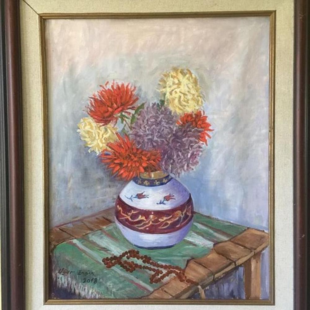 Tesbihli Krizantemler, Orijinal Tablolar, , kanvas tablo, canvas print sales