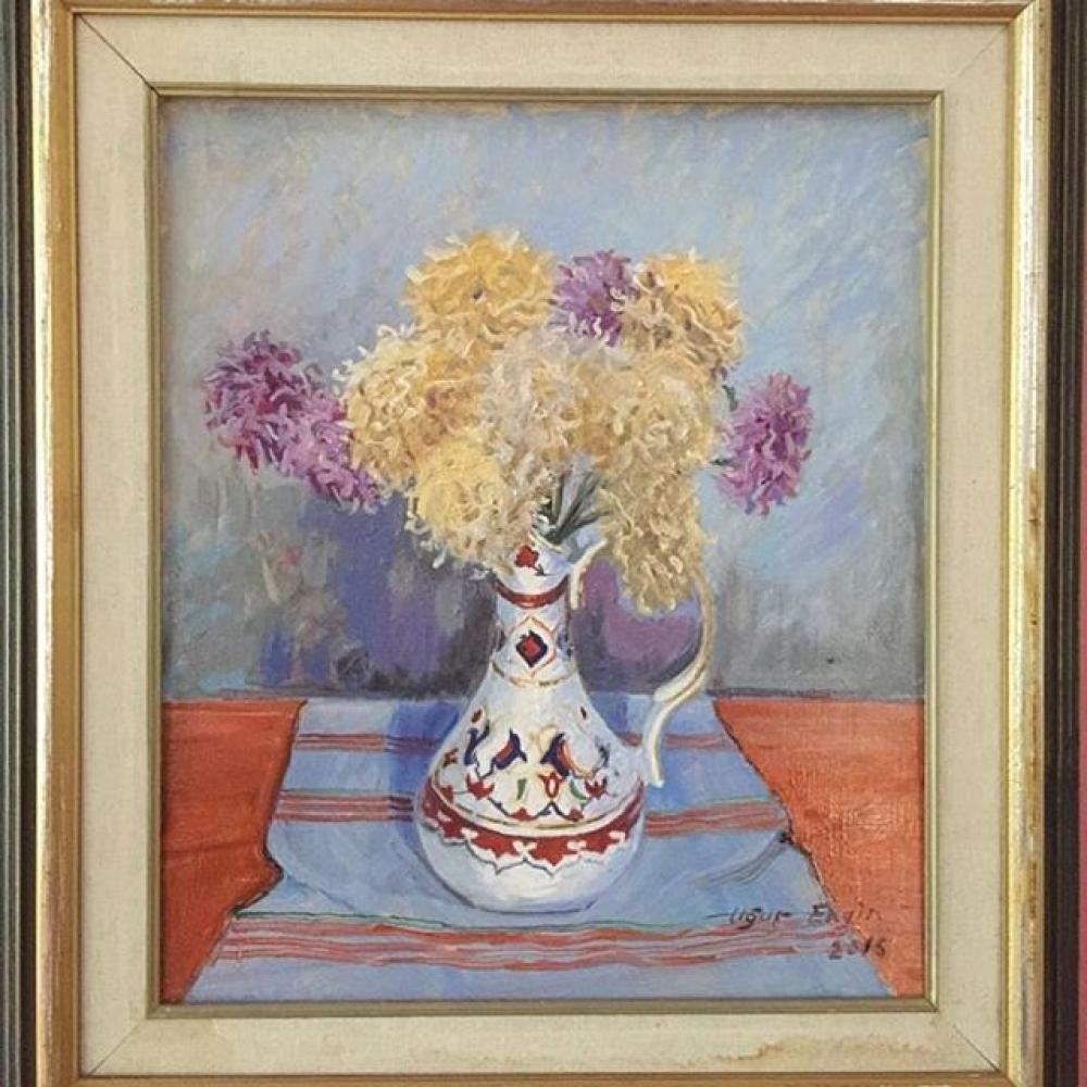 Chrysanthemums in a Vase, Original Paintings, , kanvas tablo, canvas print sales