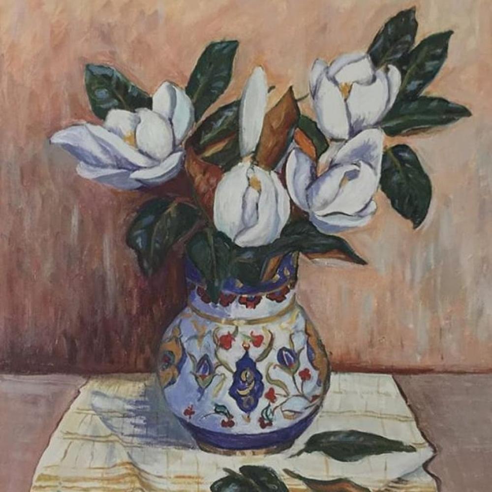 Kütahya Handwork Manolya in Vase, Original Paintings, , kanvas tablo, canvas print sales