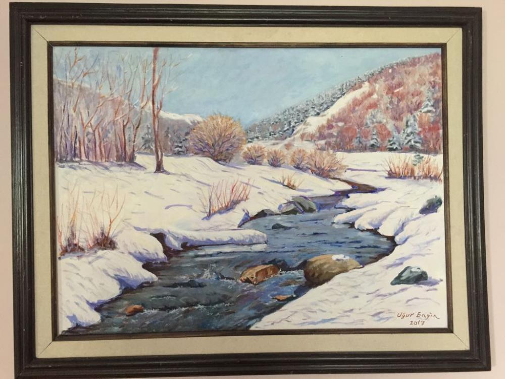 A Stream on Ilgaz Mountains, Original Paintings, , kanvas tablo, canvas print sales