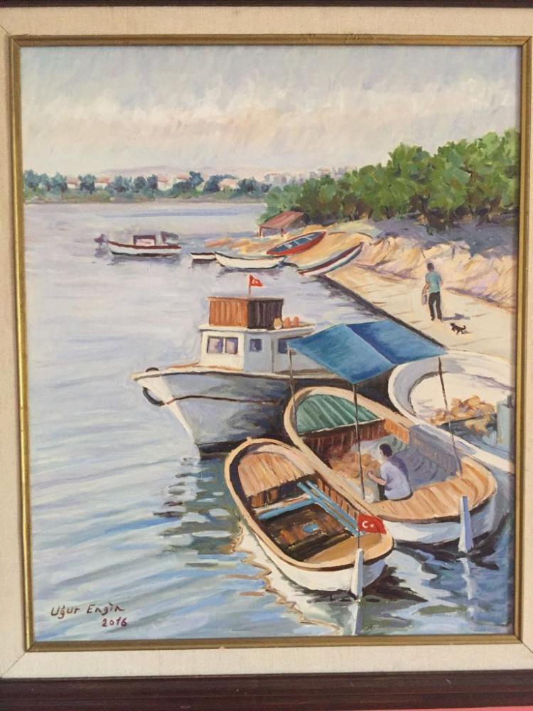 Küçükçekmece Fisherman s Shelter, Original Paintings, , kanvas tablo, canvas print sales