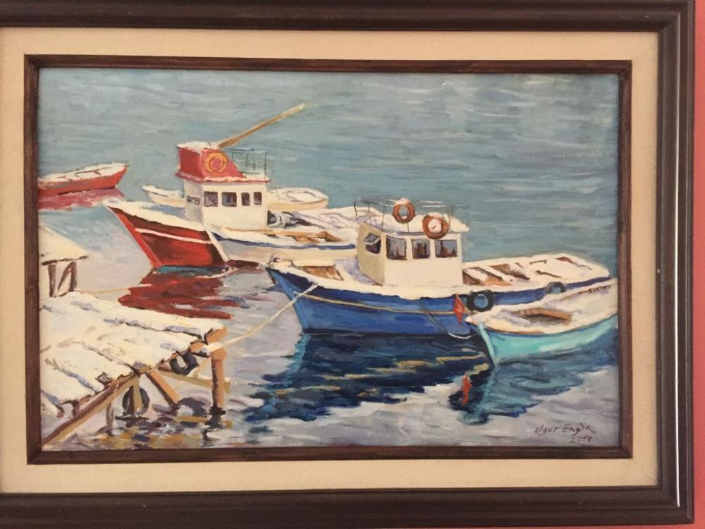 İnebolu Özlüce, Balıkçı Barınağında Kışın Kayıklar, Yağlı Boya, , kanvas tablo, canvas print sales