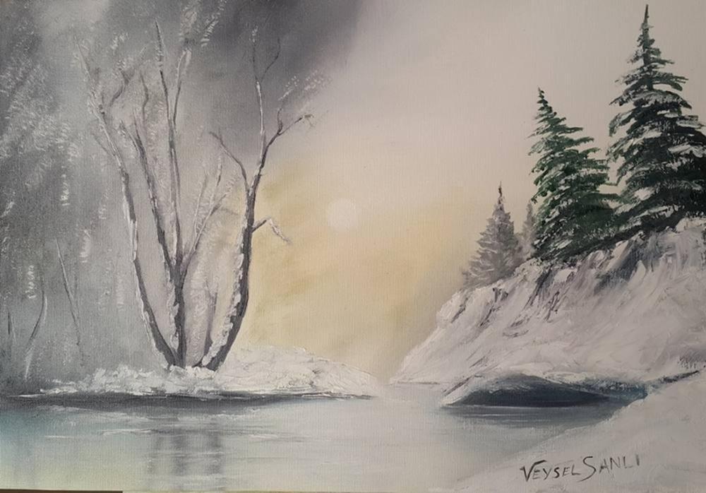 Snowing Landscape, Original Paintings, , kanvas tablo, canvas print sales