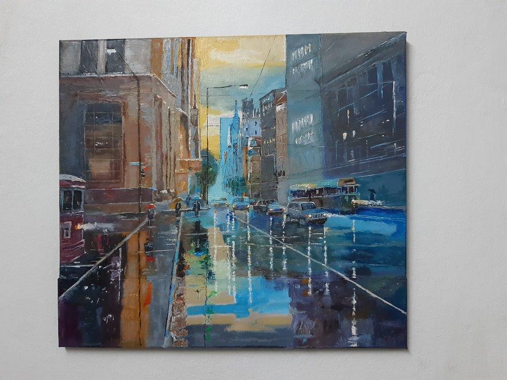 City life, main street, rainy day, (70 ler), Original Paintings, , kanvas tablo, canvas print sales