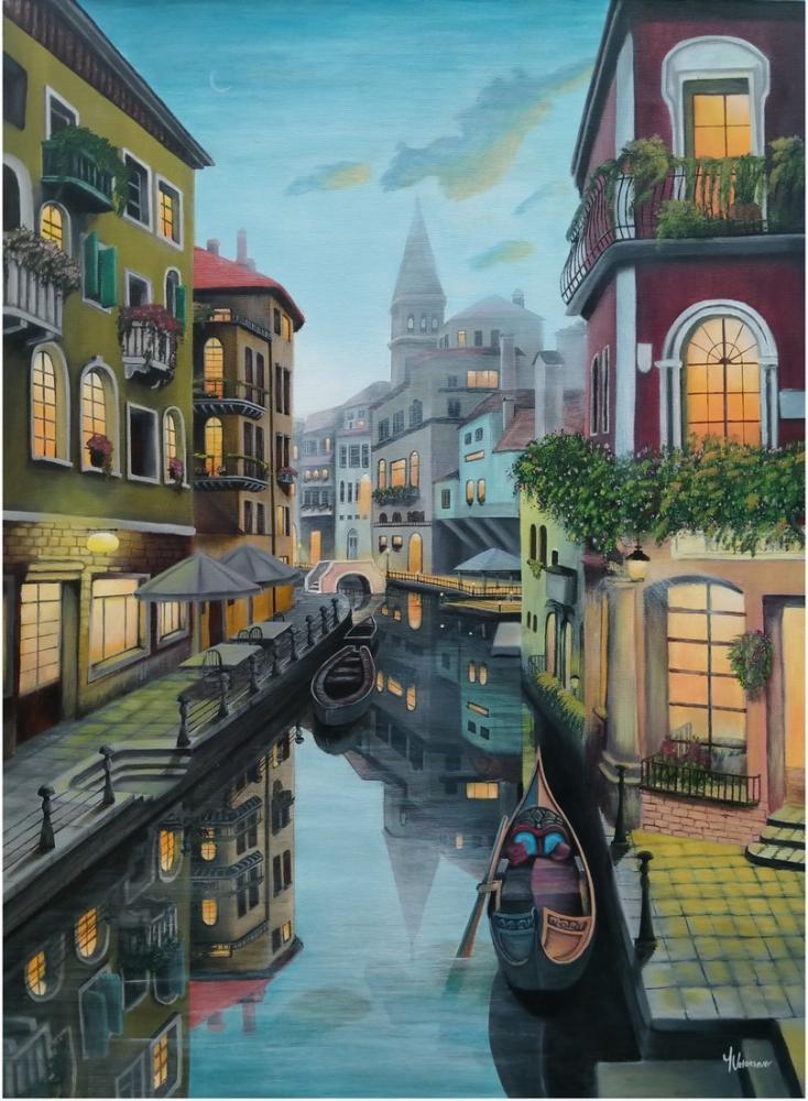 İtalya, Venedik Kanalı, Reprodüksiyon Tablo, , kanvas tablo, canvas print sales