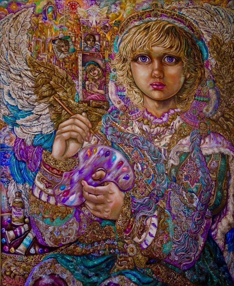 Yumi Sugai.Archangel Johiel, Original Paintings, , kanvas tablo, canvas print sales