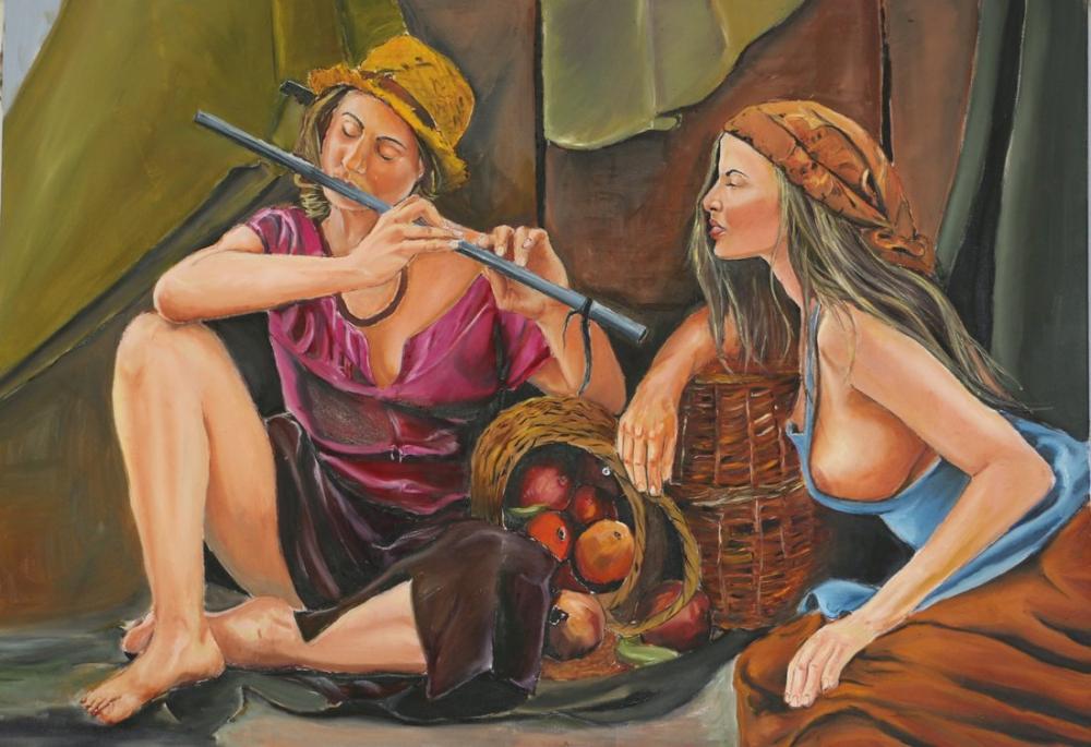 Girls playing the flute, Original Paintings, , kanvas tablo, canvas print sales