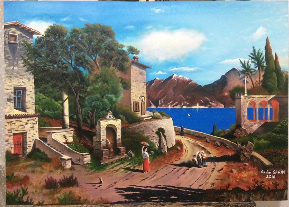 Italian Village, Original Paintings, , kanvas tablo, canvas print sales