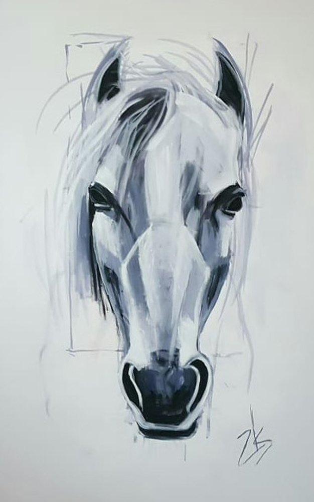 Beyaz At Başı, Orijinal Tablolar, , kanvas tablo, canvas print sales