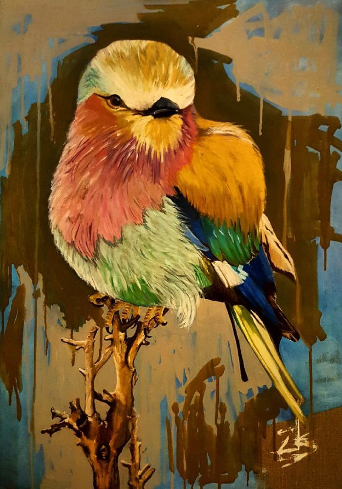 A bird Four colors, Original Paintings,