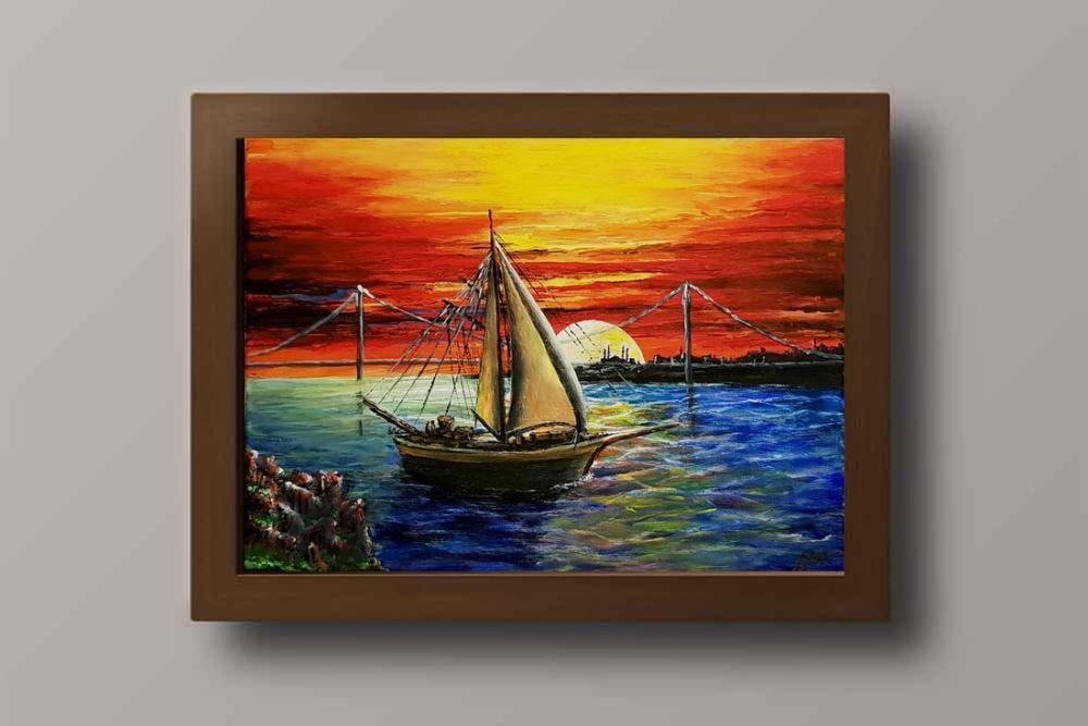 A sailing ship at sunset, Original Paintings,
