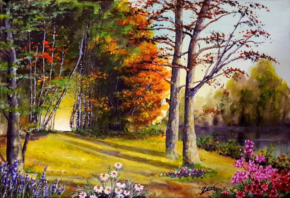Sunny forest, Original Paintings, , kanvas tablo, canvas print sales