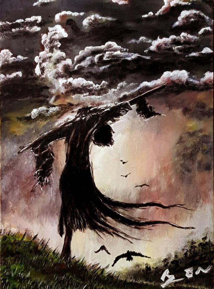 Sad Scarecrow, Original Paintings, , kanvas tablo, canvas print sales